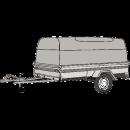 Släpvagn med stor kåpa, totalvikt 750 kg, bromsad
